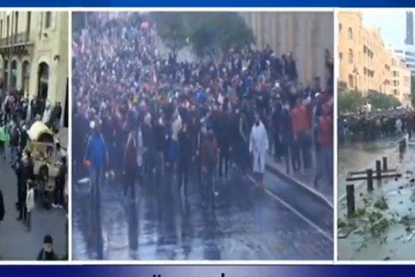 """مواجهات بين المحتجين والقوى الأمنية في وسط بيروت  """"هاشلي بربارة"""""""
