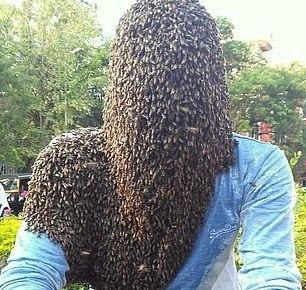 هندي يحجب وجهه بـ60 ألف نحلة (صور)