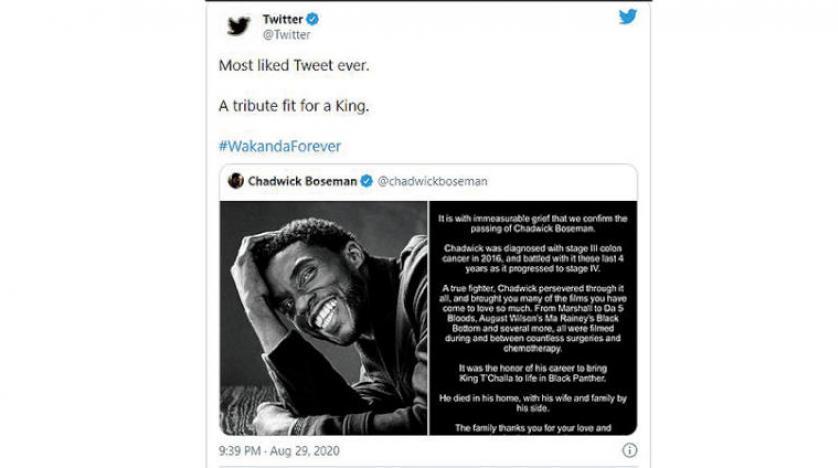 تغريدة رثاء لتشادويك بوزمَن تدخل تاريخ «تويتر» بـ5.7 مليون علامة إعجاب..فمن هو