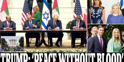 توقيعٌ على اتفاقياتِ التطبيعِ معَ إسرائيل وبعدها ايران:ورقة انتخابية يحتاجُ اليها ترامب لتحسينِ صورتِه قبل الانتخاباتِ الرئاسية  وهلع في مدن الاحتلال مع صواريخ فلسطينية