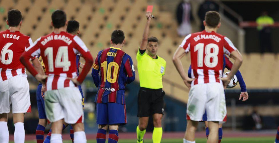 طرد ميسي وبلباو بطل السوبر على حساب برشلونة،الانتر يقهر يوفنتوس،هزيمة ليون وفوز السيتي