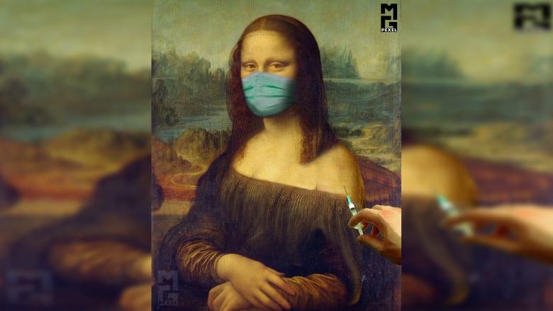 """""""الموناليزا"""" تتلقى لقاح """"كوفيد-19"""" بمشروع فني يبرز أهمية اللقاحات في مواجهة كورونا"""
