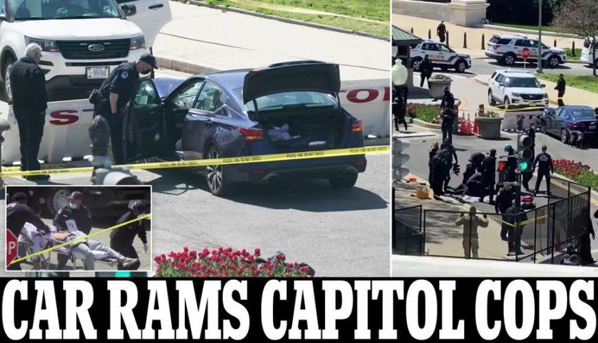 إغلاق مبنى الكونغرس الأمريكي إثر اصطدام سيارة الحاجز الامني ودهس حارسيين