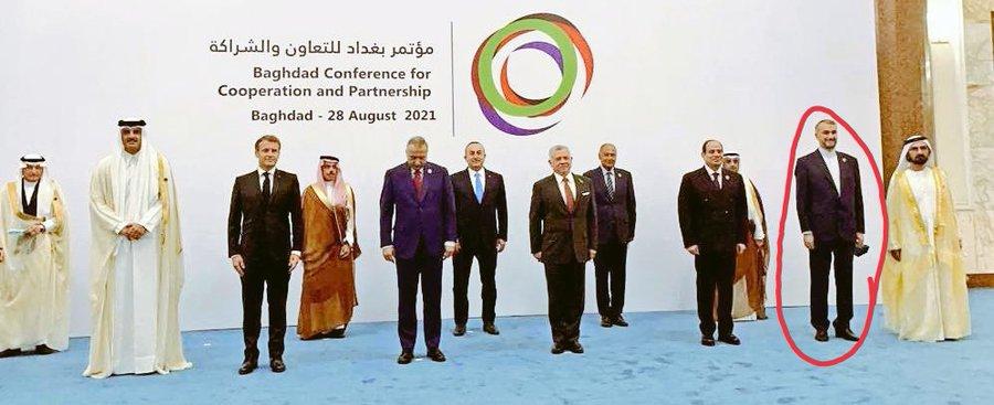 وزير الخارجية الإيراني يثير جدلا واسعًا بسبب صورته مع قادة مؤتمر بغداد.. ومغردون: تجسيد لهيمنة إيران