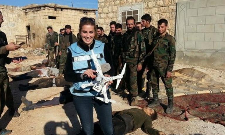 """مراسلة النظام السوري المعروفة بـ""""سيلفي الجثث"""" تستنجد بالأسد: """"سرقوا شقا عمري، ولم يتحرك أحد"""""""